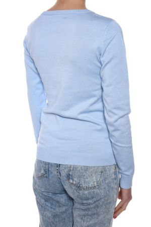 Pulover Vascoza Vila Gema Deep V-neck Chambray Blue