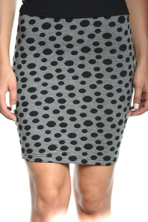 Fusta Scurta Vila Peplum Dark Grey Melange Black Dots