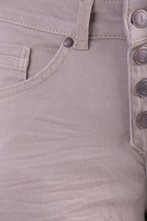 Pantaloni Scurti Bumbac Object Linda Canvas Knikers Oxford Tan