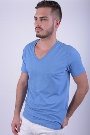 Tricou Selected Drill Single Deep V-neck Parisian Albastru Deschis
