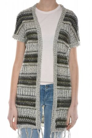 Cardigan Dama Vero Moda Homey 2/4 Fringe Moonbeam / W Ivy Green
