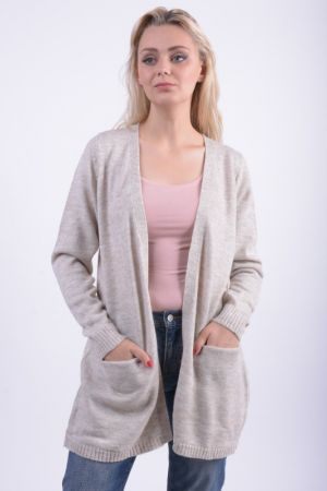 Cardigan Lung Vila Riva Gri Deschis