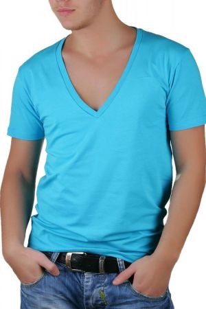 Tricou Barbati Selected New Single Super Deep V-Neck Albastru