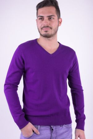 Pulover Bumbac Selected Roma V-neck Mov