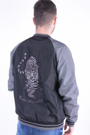 Geaca Only& Sons Onssouvenir Bomber Black / Grey Sleeve