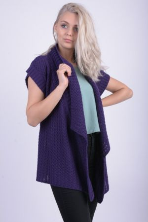 Cardigan Gros Maneca Scurta Mia Moda Basket Wave