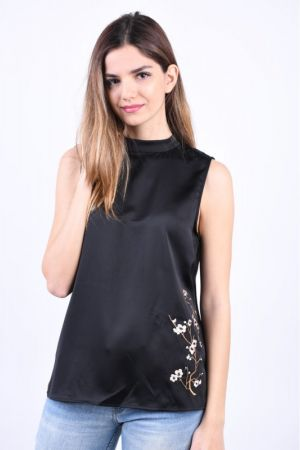 Bluza Satin Object Shady T-Neck Negru