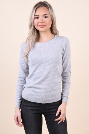 Pulover Vero Moda Care Structure O-Neck Light Grey Melange