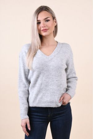 Pulover Pieces Ella Wool Light Grey Melange