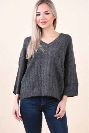 Pulover Jacqueline De Young Seven V-Neck Dark Grey Melange