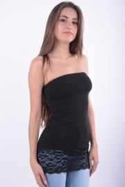 Top Only Live Love Bouble Tube Lace Negru