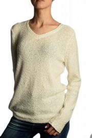 Pulover Bumbac B Young Marla V-neck Alb
