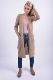 Cardigan Dama Vila Riva Long Knit Cardigan Dusty Camel
