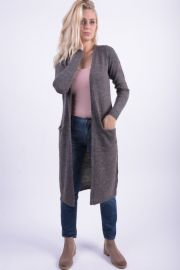 Cardigan Lung Vila Riva Knit Gri Inchis