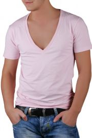 Tricou Barbati Selected New Single Super Deep V-Neck Roz