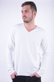 Pulover Bumbac Selected Roma V-Neck Faded Alb