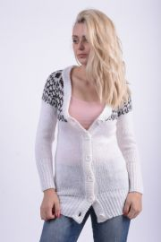 Cardigan Lung Gros Fresh Made Lottie Helmi Alb