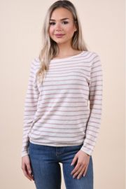 Pulover Selected Nive Stripe Gray/Natural Baige