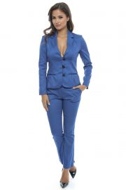 Costum office din bumbac Royal Blue Fall