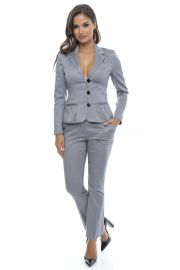 Costum office din bumbac Bright Gray Fall